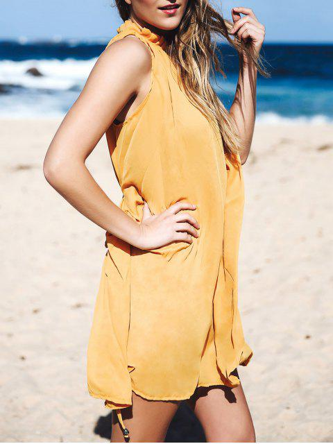 shop Round Neck Ruffled Tie-Up Sleeveless Dress - DEEP YELLOW L Mobile