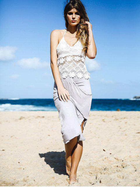 online White Lace Cami Top + Gray Asymmetric Pencil Skirt Twinset - GRAY L Mobile