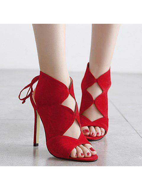 lady Cut Out Flock Stiletto Heel Sandals - RED 38 Mobile