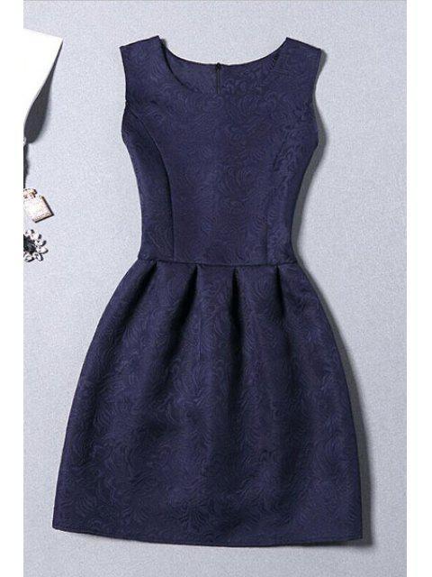 Mini Vestido de Jacquard sin Manga - Azul Purpúreo XL Mobile