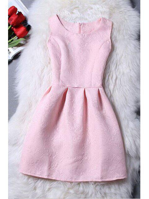 outfit Sleeveless Jacquard Mini Dress - PINK L Mobile