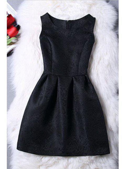 Mini-robe jacquard sans manches - Noir XL Mobile