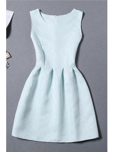 women's Sleeveless Jacquard Mini Dress - LIGHT BLUE XL Mobile