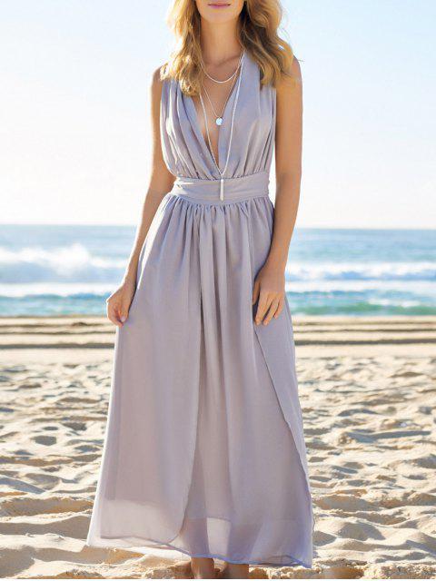 Hundimiento del color sólido del vestido maxi - Azul Gris XL Mobile
