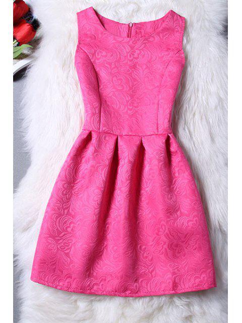 unique Sleeveless Jacquard Mini Dress - ROSE M Mobile
