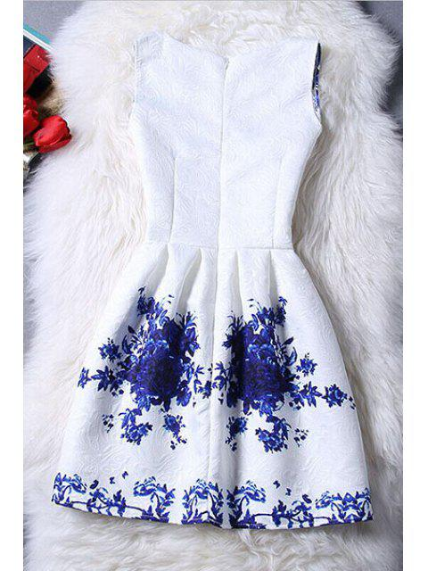 latest Sleeveless Blue Rose Dress - BLUE AND WHITE S Mobile