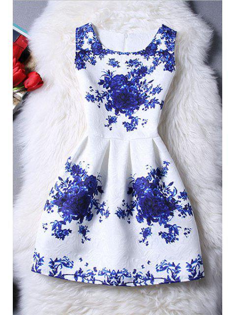 trendy Sleeveless Blue Rose Dress - BLUE AND WHITE M Mobile