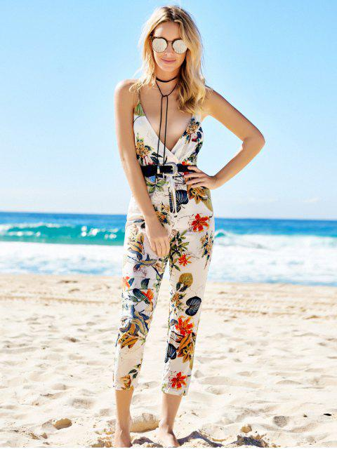 womens Floral Print Backless Sleeveless Jumpsuit - COLORMIX M Mobile