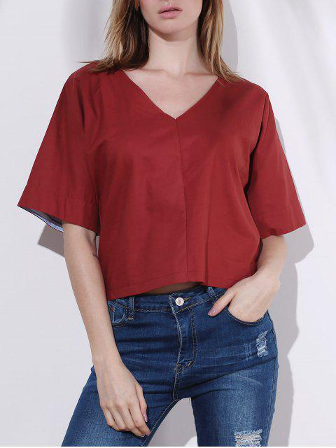 online Pure Color Plunging Neck Half Sleeve Blouse - RED S Mobile