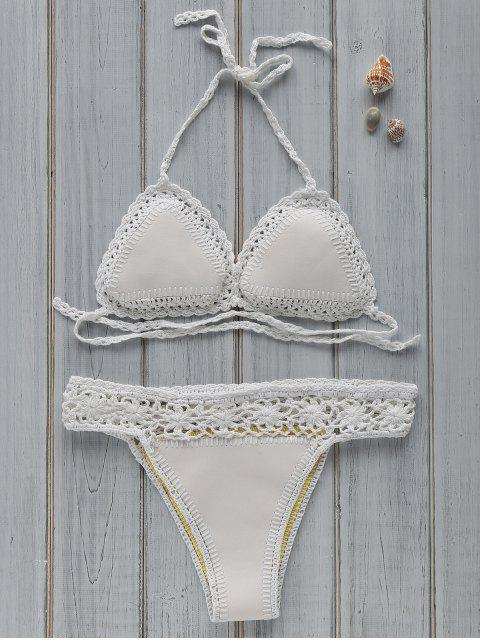 best Hollow Out Spaghetti Straps Crocheted Bikini Set - OFF-WHITE ONE SIZE(FIT SIZE XS TO M) Mobile