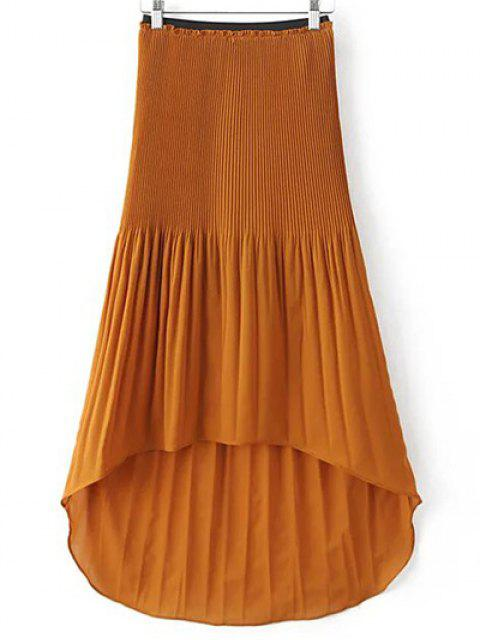 best Hi-Lo Pleated Chiffon Skirt - BROWN M Mobile