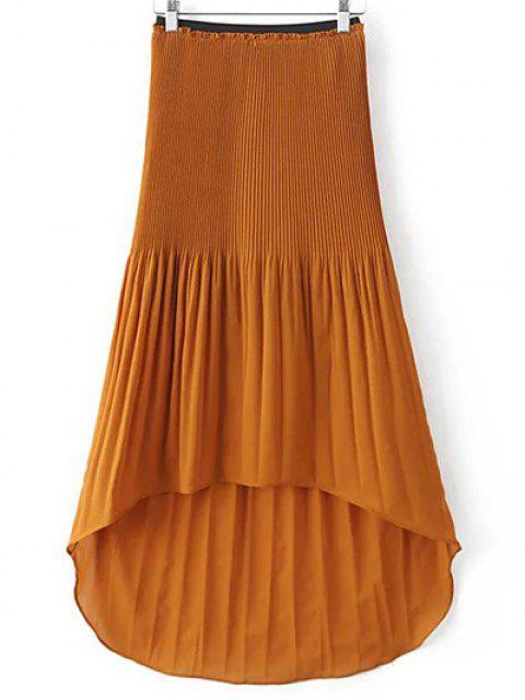 Hi-Lo plisado de la falda - Marrón M Mobile