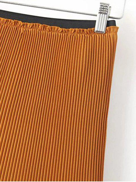 lady Hi-Lo Pleated Chiffon Skirt - BROWN L Mobile