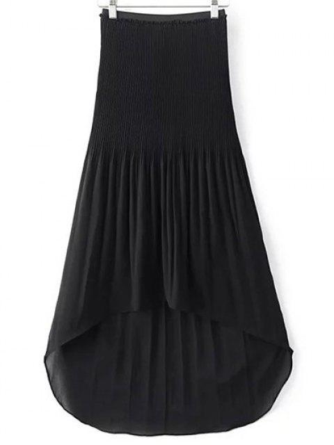 hot Hi-Lo Pleated Chiffon Skirt - BLACK M Mobile