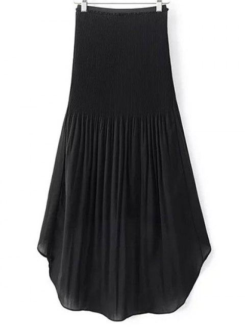 new Hi-Lo Pleated Chiffon Skirt - BLACK L Mobile