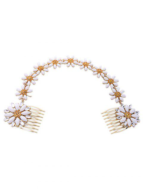 buy White Daisy Hair Comb - WHITE  Mobile