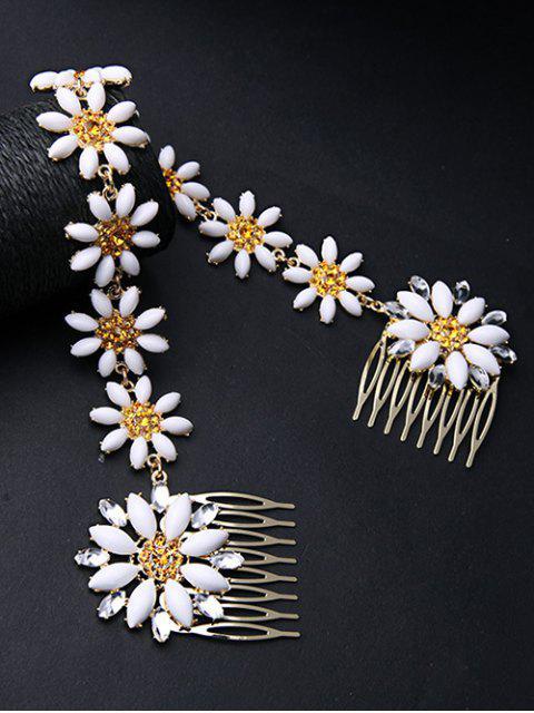 buy White Daisy Hair Comb - WHITE  Mobile