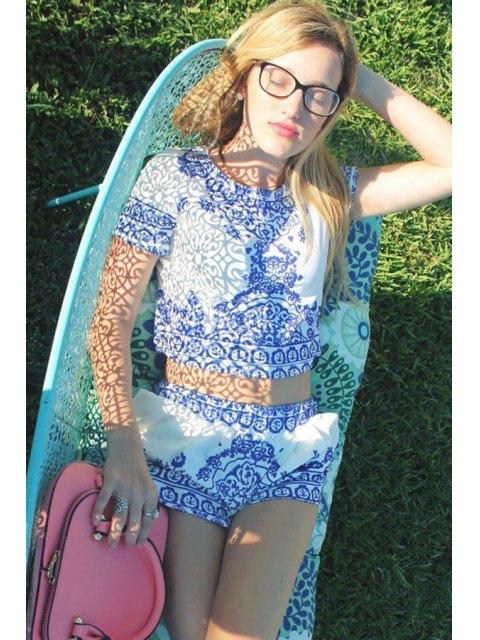 Assortiment imprimé rétro de T-shirt à manches courtes et Short pour femmes - Bleu et Blanc S Mobile
