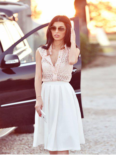 Élégant Semi Sheer Shirt Megz dentelle sans manches pour les femmes - ROSE PÂLE M Mobile