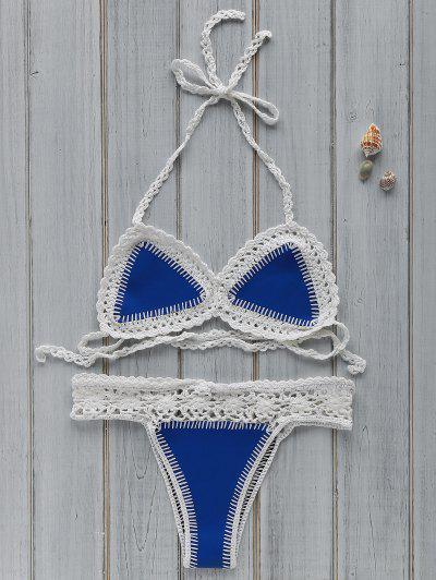 Hollow Out Spaghetti Strap Crocheted Bikini Set - Blue