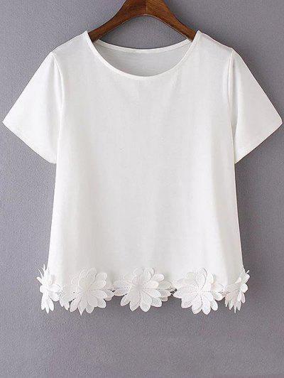 Flower Appliqued T-Shirt - White