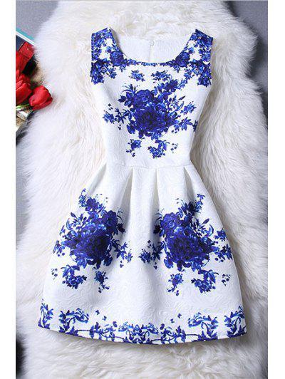 Sleeveless Blue Rose Dress - Blue And White M
