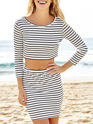 Striped Cropped Top and Mini Skirt