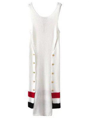 Diseño Del Botón Del Vestido Del Suéter Irregular - Blanco S