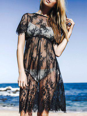 See-Through Round Neck Short Sleeve Lace Dress - Black M