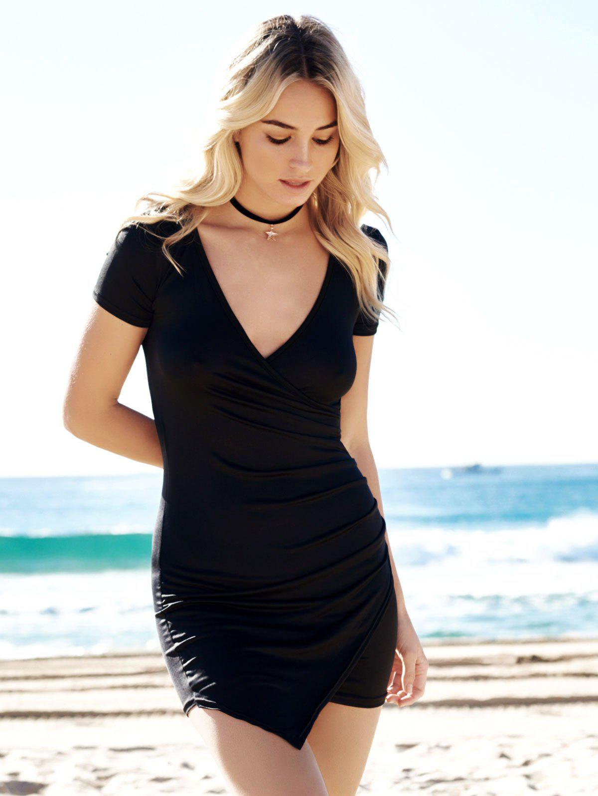 Solid Color Plunging Neck Bodycon Dress