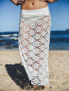 Solid Color Lace Cover Up Skirt - White L