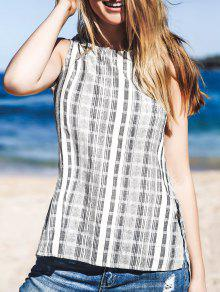 Buy Striped Side Slit Round Neck Sleeveless Tank Top - GRAY S