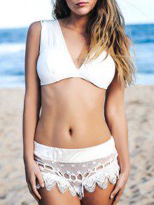 Cami Lace Splicing Bikini - Blanc M