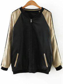 Embroidered Reversible Satin Bomber Jacket - Black And Golden S