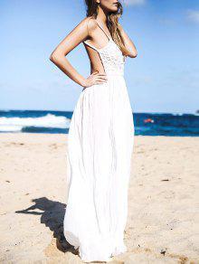 Lace Bodice Open Back Maxi Dress - White M
