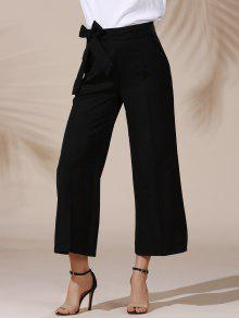 العصرية منتصف الخصر بلون الذاتي التعادل حزام فضفاضة طول الكاحل السراويل للنساء - أسود S