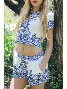 Retro Print Short Sleeve T-Shirt And Shorts Suit - Blue And White S