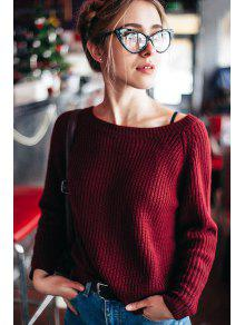 Resultado de imagen para Boat Neck Loose Sweater - Wine Red