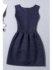 Sleeveless Jacquard Mini Dress - Purplish Blue Xl