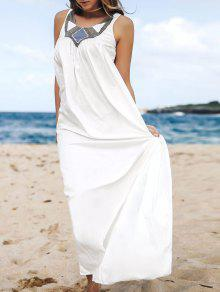 Jewel Neck Smock Summer Maxi Dress - White M