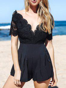 Lace Spliced Plunging Neck Open Back Playsuit - Black S