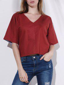 Pure Color Plunging Neck Half Sleeve Blouse - RED M