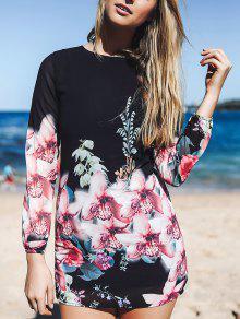 Printed Chiffon Long Sleeves Round Collar Dress - Black L