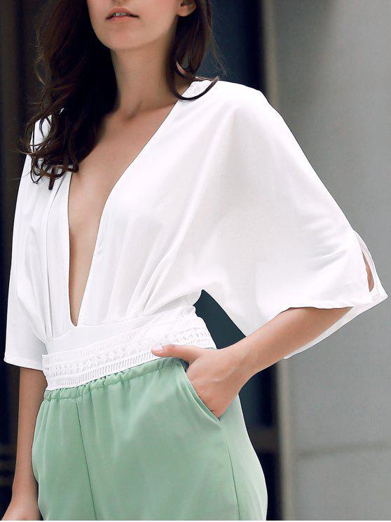 Color sólido con cintura del corsé Hundiendo Cuello Palo-manga de ala Playsuit - Blanco L