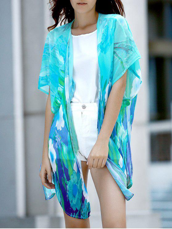 fancy Colorful Chiffon Long Blouse - COLORMIX L