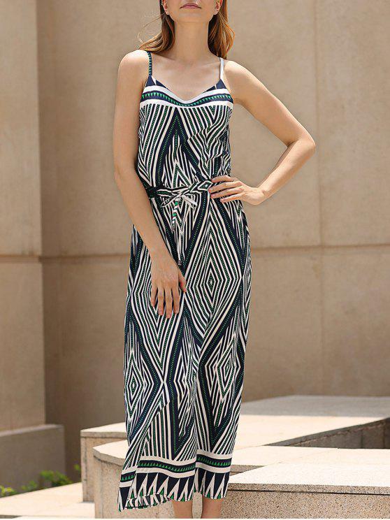 ثقافاتنا طباعة السباغيتي الأشرطة فستان ماكسي - Colormix 2XL
