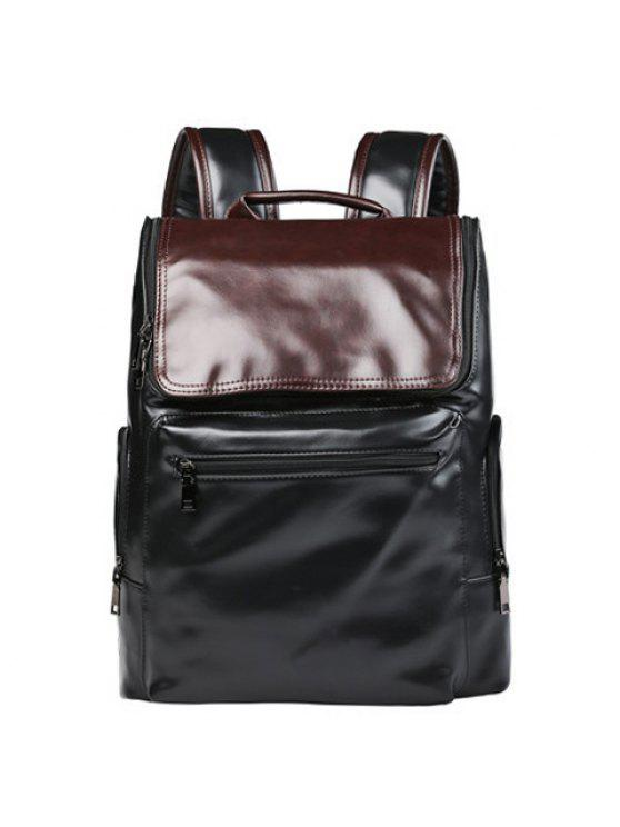 حقيبة الظهر كتلة اللون بسحاب للرجال - أسود