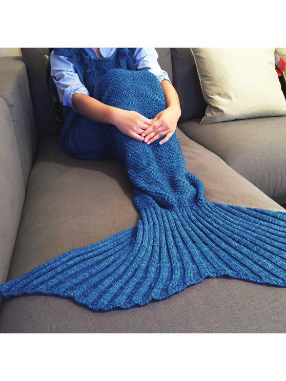محبوك حورية البحر تصميم رمي بطانية - أزرق