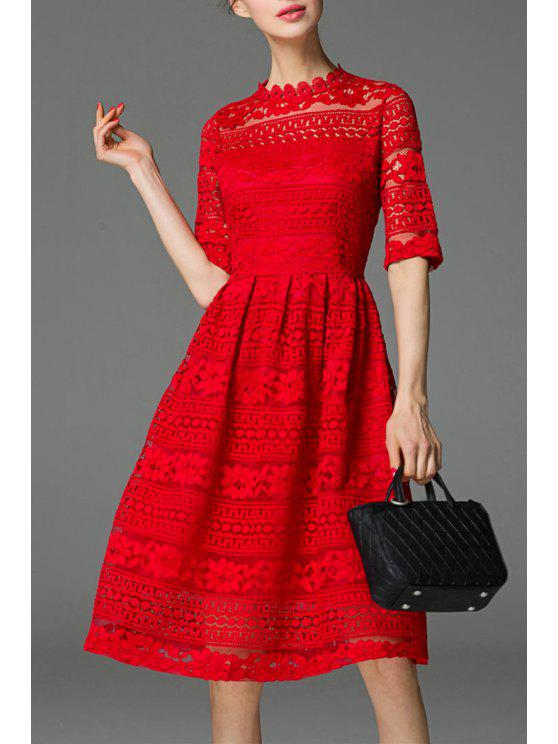1fe2a71cec31 28% OFF  2019 See-Through Lace Knee Length Dress In RED