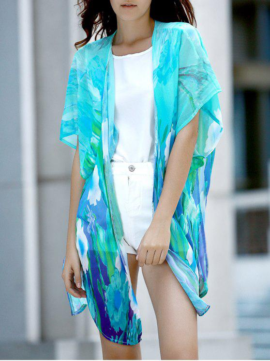 chic Colorful Chiffon Long Blouse - COLORMIX M